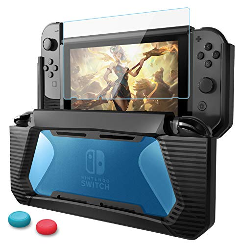 AISITIN Compatible Nintendo Switch Case and Screen Protector, Shock-Absorption&Anti-Scratch Slim, Compatible Nintendo Switch Protective Case Screen Switch Protector Case Cover Glass - Black-Blue