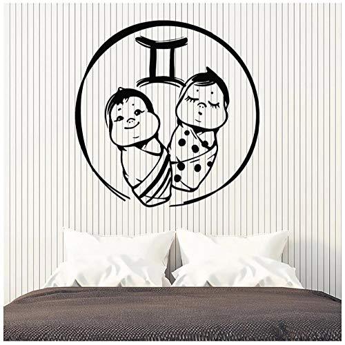 Hanzeze Muurstickers Baby tweeling Zelfklevende PVC sticker muurschildering art deco voor woonkamer ramen kinderkamer huisdecoratie 57x57cm