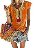FARYSAYS Women's Shirts Casual Summer Sexy V Neck Short Sleeve Bohemian Fashion Tops Blouses Orange Large