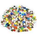 THETHO 500g Mosaico de Cristal de 1x1cm Azulejos de Mosaico de Colores Piedras de Mosaico Multicolor para Manualidades, Decoración Doméstica, Arte, Bricolaje Artesanal