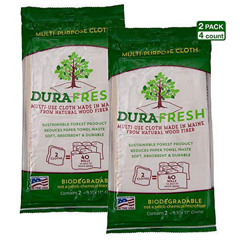 Durafresh Multipurpose Cleaning Eco Cloth, Wood Pulp Fiber Construction Designed so 99% Food Particles and Odor can be Rinsed Away (4-Count)
