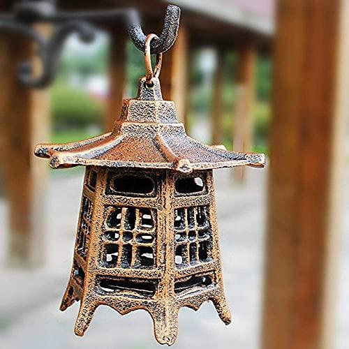 RAN Patio Vintage Hierro de Hierro Vela Vela Japonesa Pagoda Oriental Colgante jardín Linterna Vela Cubierta Interior/Exterior