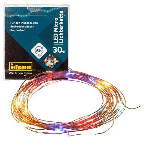 Idena 31096 LED Micro Lichterkette mit 30 LED bunt, mit 6 Stunden Timer Funktion, Batterie betrieben, für Partys, Weihnachten, Deko, Hochzeit, als Stimmungslicht, ca. 3,2 m