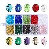 500 cuentas de cristal de 6 mm con caja de envase, cuentas con forma de Rondelle, cuentas de cristal facetadas, cuentas de cristal para fabricación de joyas