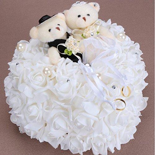 bpblgf Coeur Romantique en Forme de Coussin de Rose Alliance Boîte de Bague de Mousse 25 * 25CM, White, 25 * 25cm