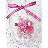 NEW ダイアナ welzo ウェルゾ オリジナル品 プリザーブドフラワー 薔薇3輪 ガラスドーム ピンク