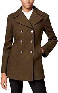 Kenneth Cole Women's Double-Breasted Peacoat Loden Green XL