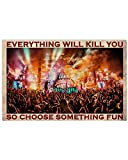 Inga Placa de metal para decoración de pared de Tomorrowland Festival Choose Something Fun Poster de 20 x 30 cm