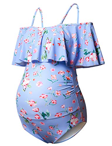 Maternity Bikinis Tankini Floral Flouncing Swimsuit One Piece Beachwear Blue with Pink Flower L