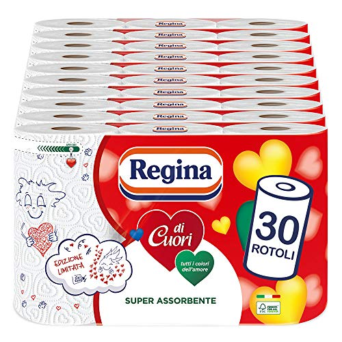 Regina di Cuori Küchenpapier | 30 Rollen | 50 Blatt pro Rolle | hohe Saugfähigkeit, dick und robust | 100% FSC-zertifiziertes Papier