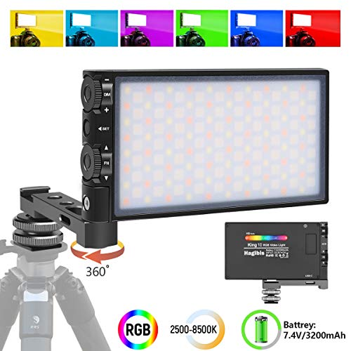 Hagibis RGB LED Video Light, with Built-in Rechargeable Battery,Portable On Camera Light Panel with Aluminium Alloy Body,360° Full Color,CRI/TLCI≥97 2500-8500K,12 Lighting Effect Modes