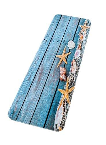 A.Monamour Badematten Badteppiche Badvorleger Retro Blauen Holzfußboden Angeln Netz Muschel Muscheln Starfish Nautisch Thema Gedruckt Saugfähigen Flanell rutschfeste Dekorative Badematten Teppiche