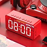 Reloj Despertador Digital LED, Reloj Despertador con Espejo LED portátil con Puerto USB, Pantalla LED Grande, función de repetición para Viajes, Dormitorio, Oficina, Mejor Regalo de Festival-Rojo