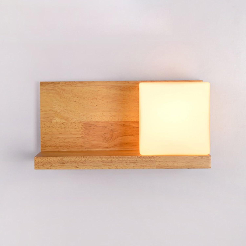 TangMengYun Nordic Gummi Holz Wandleuchte, kreative Wandleuchte für Schlafzimmer Nachttischlampe Wohnzimmer Gang, Glas Wandleuchte einfache Nachtlicht (Farbe   A1-30  14CM)