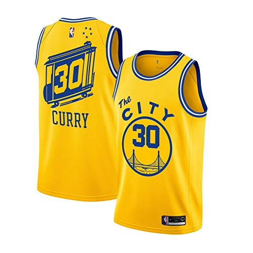 Stephen Curry Trikot, Nr. 30 Golden State Warriors Curry Herren Icon Edition Swingman Sporttrikot und Sportshorts-Yellow A-XXL(187.198CM)