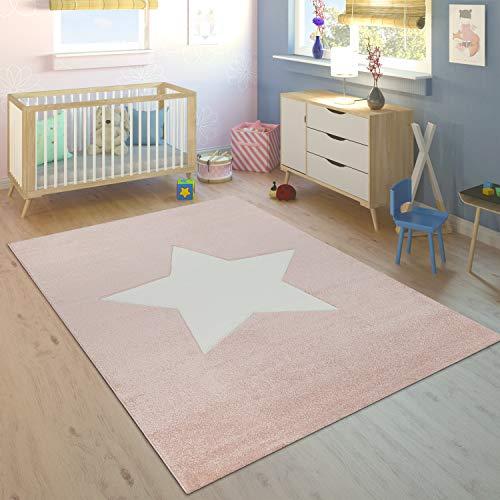Paco Home Alfombra Habitación Infantil Niña Moderna Gran Estrella En Rosa Pastel Y Blanco, tamaño:120x170 cm