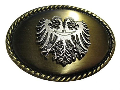 Brazil Lederwaren Gürtelschnalle Doppeladler 4,0 cm | Buckle Wechselschließe Gürtelschließe 40mm Massiv | für Lederhose Dirndl Tracht