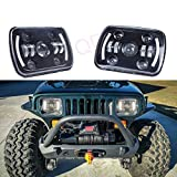 LQQDP 2pcs 7x6 Inch Rectangular Sealed Beam Conversion Kit LED Halo Angel Eye Projector Headlights Assembly Amber Turn Signal White High/Low Beam DRL Daytime Running Lights+H4-H13 Adaptors+Canbus