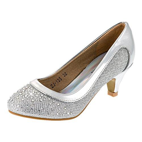 Festliche Mädchen Pumps Ballerina Schuhe Absatz Glitzer in vielen Farben M149si Silber 30