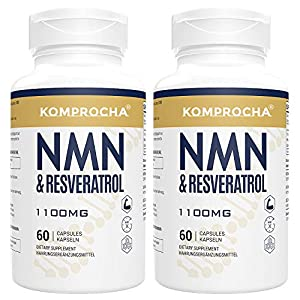 KOMPROCHA NMN + Trans-Resveratrol 99% Purity+ Black Pepper 1100mg, for Max Absorption, Powerful Antioxidant & Anti-Aging Supplements for Immune & Skin Health (120 Capsules (Pack of 2))