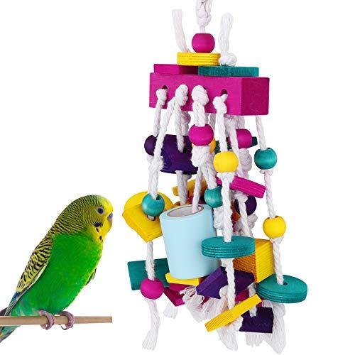 Pawaboo Juguete de Loro para Pájaros, Masticar y Moler con Bloques de Múltiple Color y Cuerda de Madera en Bruto para Aves Pequeñas y Medianas
