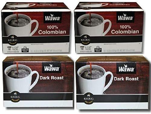 Wawa Single Cup Coffee K-Cups for Keurig Brewers - 24 Count (Dark Roast) & 24 count (Columbian)