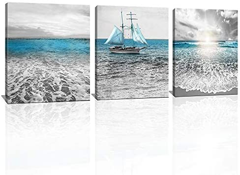 KuyiArt 3 Panels Canvas Wall Art Beach Sunset Waves Boat Seascape Picture Stretched Ocean Painting product image
