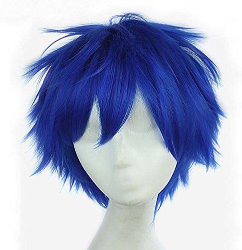God's Hand 11.8 Inch Dark Blue Short Straight Anime Cosplay Wigs for Men Girls Halloween Party (dark blue)
