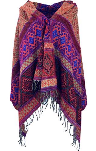 Guru-Shop Weicher Pashmina Schal/Stola, Schultertuch, Plaid, Herren/Damen, Inka Muster Rot/blau, Synthetisch, Size:One Size, 200x90 cm, Schals Alternative Bekleidung