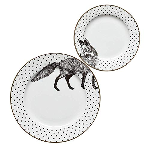 LIZANAN Cocina Placa de cerámica Filete Occidental Placa de 6 Pulgadas 8 Pulgadas de Pantalla Plana Animal Variedad de café Grande Bandeja 2 Piezas D 2 Piezas vajilla