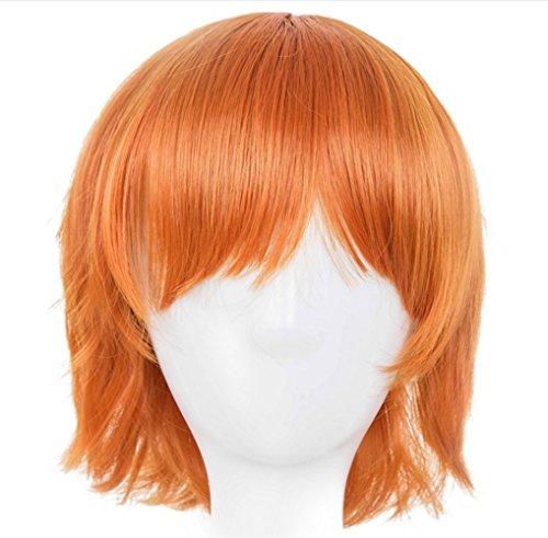 Morbuy Damen Perücke Kunsthaar Kurz Welle Wigs Sexy lange geschichteten Cosplay Requisiten (orange)
