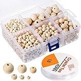 Lot de 1105 perles en bois naturelles rondes avec 1 rouleau de...