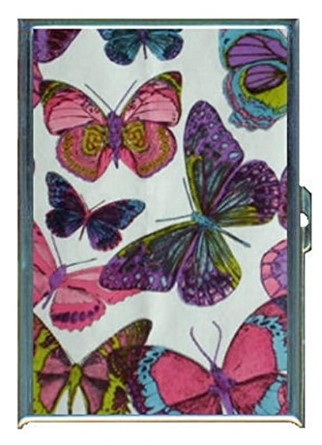 プロフィール同じ俳句1960年代70年代またはMod Butterflies 2ステンレススチールIDまたはCigarettesケース( Kingサイズまたは100?mm )