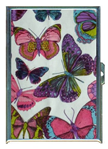 1960s Or 70s Mod Butterflies 2 Stainless Steel ID or Cigarettes Case (King Size)