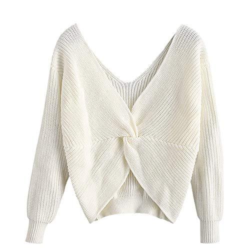 ZAFUL Damen Tiefer V-Ausschnitt Fallen Schulter Geknoteter Sweatshirt Weiß S