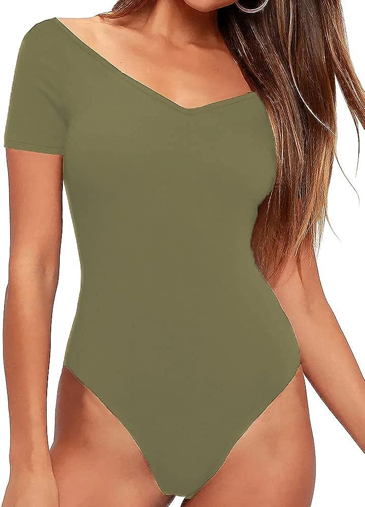 AESLOVIN Women's Short Sleeve Bodysuit Tops Sexy V Neck Leotard Jumpsuits