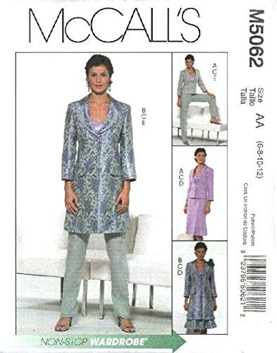 McCall's Sewing Pattern 5062 Misses Size 14-20 Wardrobe Lined Jacket Camisole Top Skirt Pants by McCall's