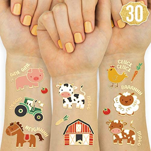 xo Fetti Farm Party Supplies Temporary Tattoos 30 Glitter Styles Barnyard Animals Petting Zoo product image