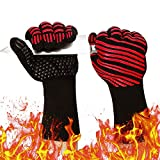 932℉ Extreme Heat Resistant Gloves, Silicone Oven Mitts for Kitchen - High Heat BBQ Gloves for Grilling, Large Oven Gloves for Men, Long Grill Gloves for Cooking, Grilling Mitts (Red, Normal)