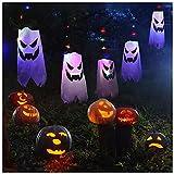 Halloween Lichterkette, VISLONE 3 Meter 30 LEDs Lichter Schnur Geister Halloween Deko Horror, Geist Lichterkette Windsock Flagge für Halloween Weihnachten Ostern Gärten Party
