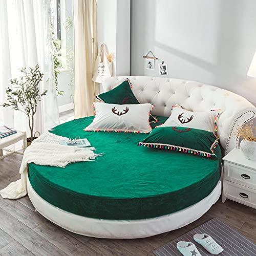 DSman Protector de colchón, con Aloe Vera, (Todas Las Medidas) Plus Cama Redonda de Terciopelo otoño e Invierno-Verde_1.8m