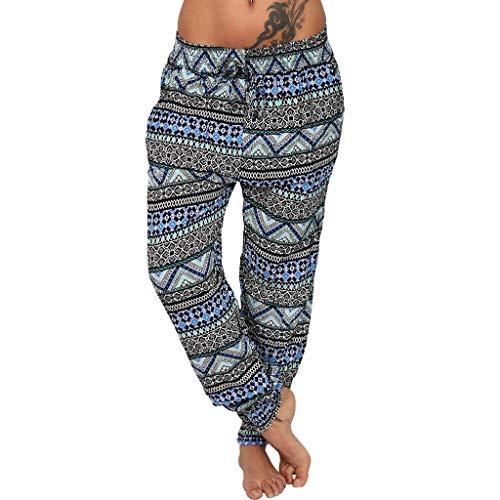 Xniral Damen Pumphose Haremshose Blumenmuster Lange Hose Elastische Taille Yogahose Weiche Jogginghose Elastisch Lange Hose(Blau,5XL)