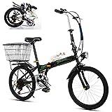 SXZZ Bicicleta Plegable De 20 Pulgadas, Mini Bicicleta De Ciudad Portátil con Luz LED, Marco De Aleación De Aluminio para Coche De Pedal Ligero Y Duradero para Estudiantes Adultos,Negro
