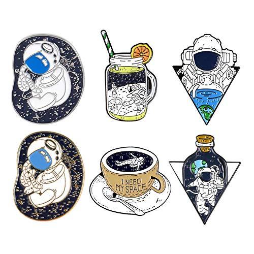 perfeclan Juego de 6 Alfileres de Esmalte de Astronauta, Broches Valientes, Insignias, Regalo de Joyería, Accesorio Sombreros, Bolsos Y Chaquetas