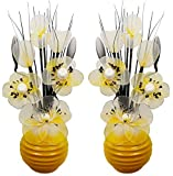 Flourish Creative Florals Matching Pair of Artificial Flowers in Vases-Home Decor, Yellow/Grey, 32cm