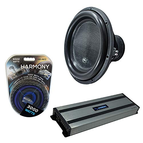 """Harmony Audio HA-ML181 Monolith 18"""" Competition Sub 3500W Subwoofer Bundle with HA-A1500.1 Amplifier & Amp Kit"""
