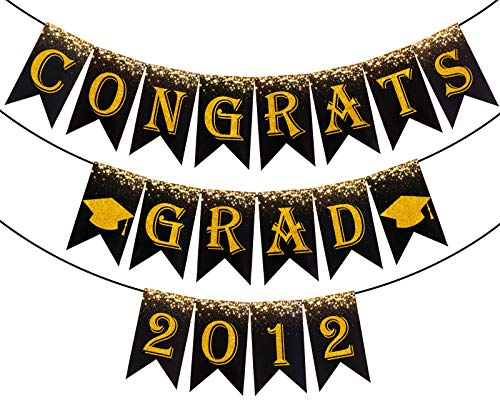 Whaline 3Pcs Graduation Banner 2021 Congrats Grad Banner Graduation Bunting Garland Glitter Gold Graduation Party Hanging Supplies for Home Mantle Fireplace Decoration, No DIY Required