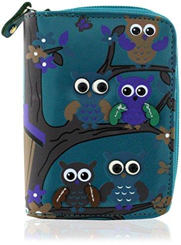 kukubird Owl Family Tree Pattern Medium Size Damen Geldbeutel-Handtasche - 34 BLUE