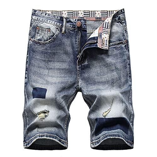 Ncenglings Hosen Jeans Herren Zerrissene Jeansshorts Regular Fit Sommer Garten Freizeit Slim Kurze Hose Sexy Loch High Street Shorts Denim Shorts Verschleißfest Outdoor Men's Sweatpants