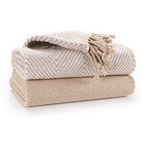 EHC Luxus Packung mit 2 Chevron Cotton Single Sofa Decke, 125x 150cm - Beige